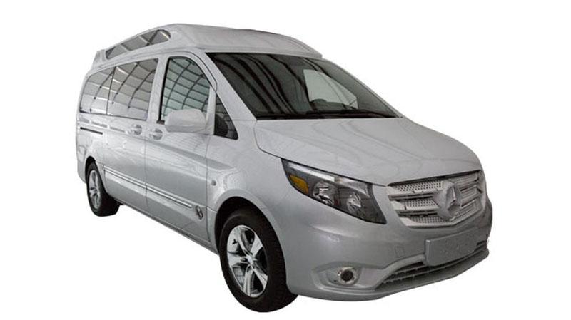 Mercedes-Benz Metris Mountain Crystal White Metallic with Silver Fade - Explorer South Van Conversions