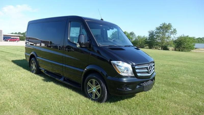 Mercedes-Benz Sprinter Obsidian Black Metallic with Black Cladding (Low Roof) Shown with 9 Passenger Seating - Explorer South Van Conversions